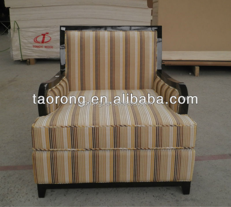 Hotel furniture classic wood leather lounge chair