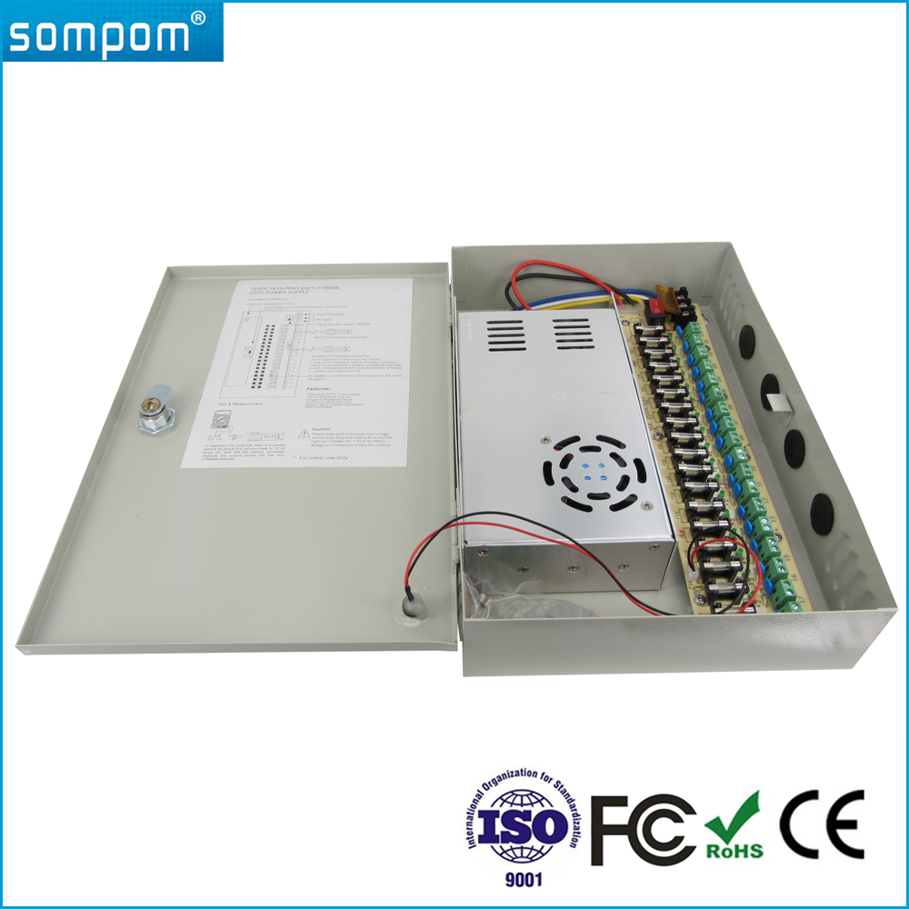 Sompom 18 Outputs S-360-12 CCTV 30A 12V DC UPS Power Supply