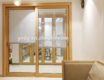 Wood Cladding Aluminum Two Panels Glass Door With Electric Blinds