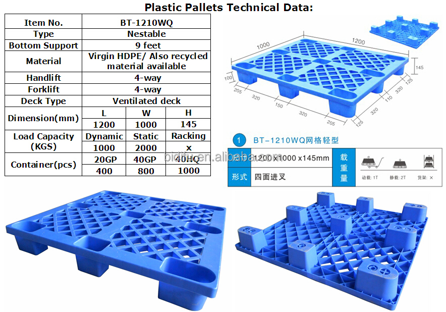 1200 x 1000 Light Duty HDPE Standard Durable nestable plastic pallet price in china
