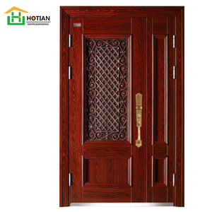 New Design Iron Entry Gates Solid Wooden Pattern Caving Security Door Anti-theft Safe Steel Door Frame Price