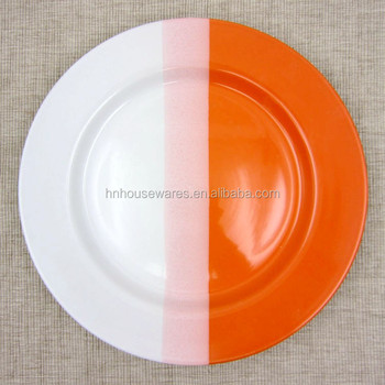 Three colors mixed white and orange bright color glazed ceramic stoneware H shape dinner plate & Three Colors Mixed White And Orange Bright Color Glazed Ceramic ...