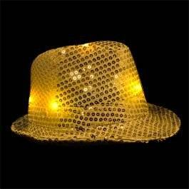 blinkee LED Flashing Fedora Hat with Gold Sequins by