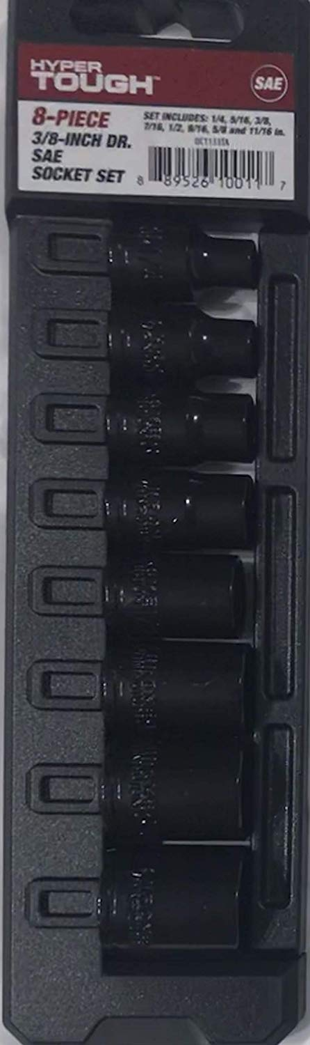 """Hyper Tough 8-Piece 3/8"""" 3/8-Inch Drive SAE Socket Set. Set Includes: 1/4"""", 5/16"""", 3/8"""", 7/16"""", 1/2"""", 9/16"""", 5/8"""" and 11/16"""" Sockets"""