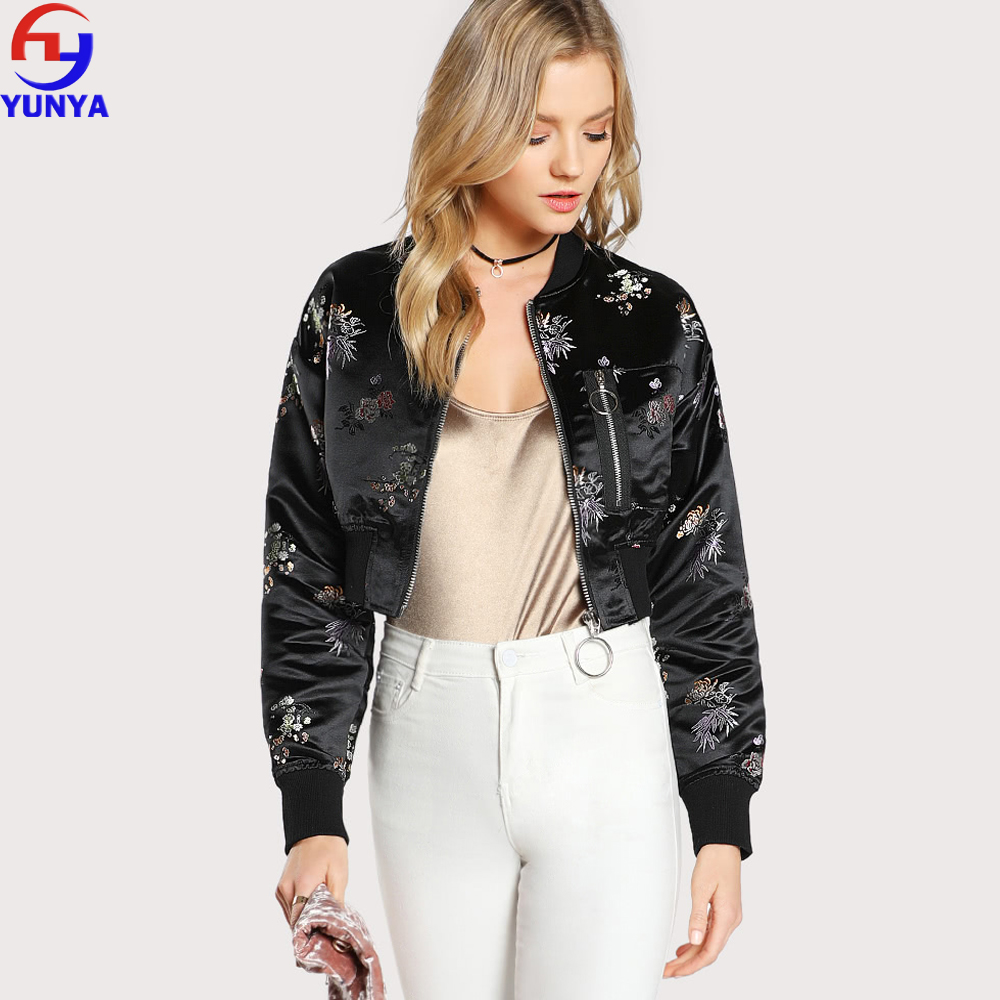 2018 most popular products satin cropped embroidered floral zipper bomber varsity women jacket