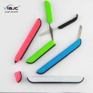 Office promotional ball pen multifunction with knife and scissor ruler