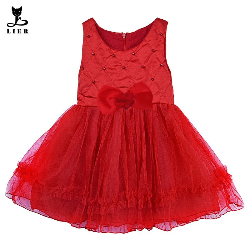 ab99087e91dff Get Quotations · Autumn Girls Clothes 2015 Infant Baby Girl Sleeveless Red  Pearls Tulle Christmas Dress With Bow Children