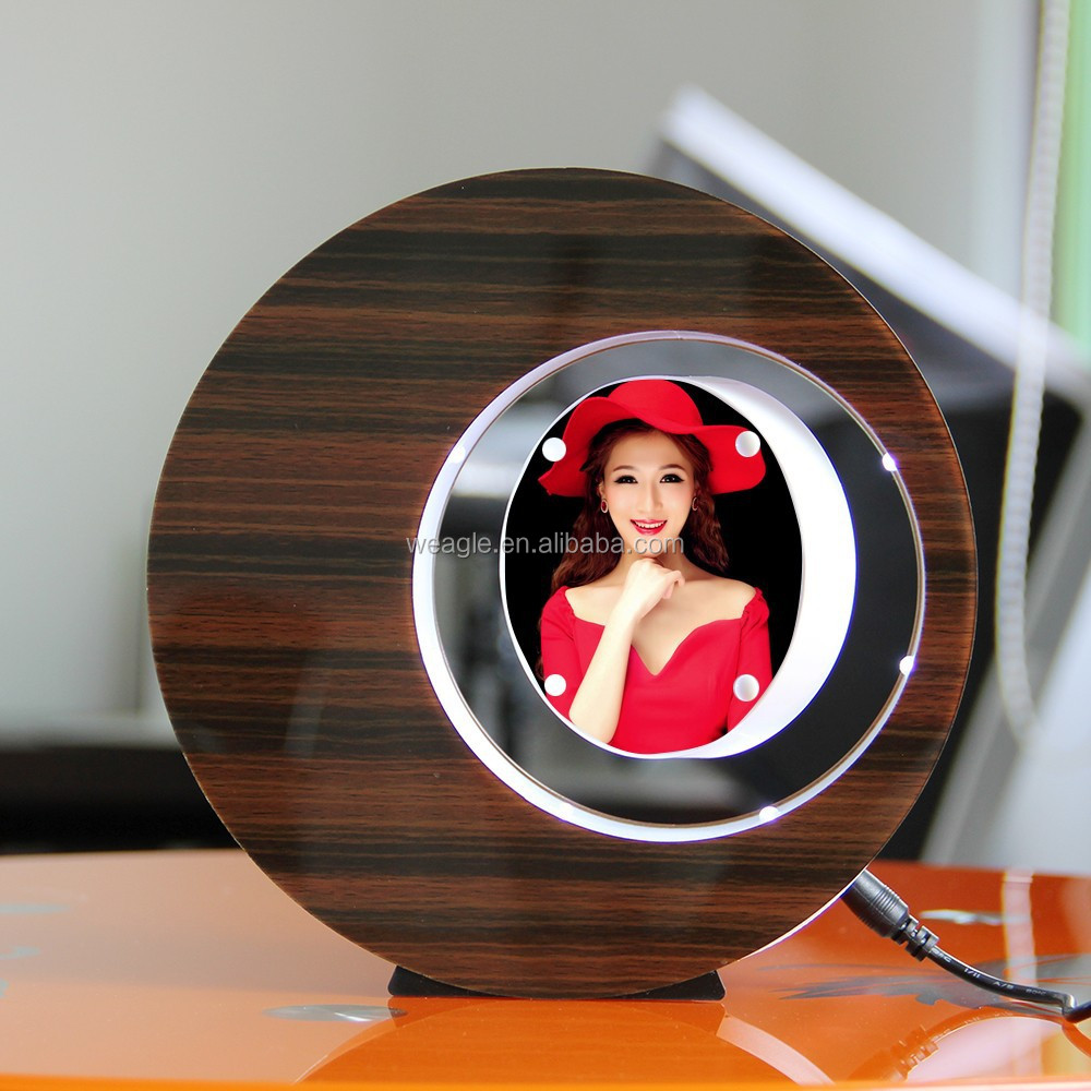 LED suspending in the air magnetic levitation photo frame deft design 1st anniversary gifts