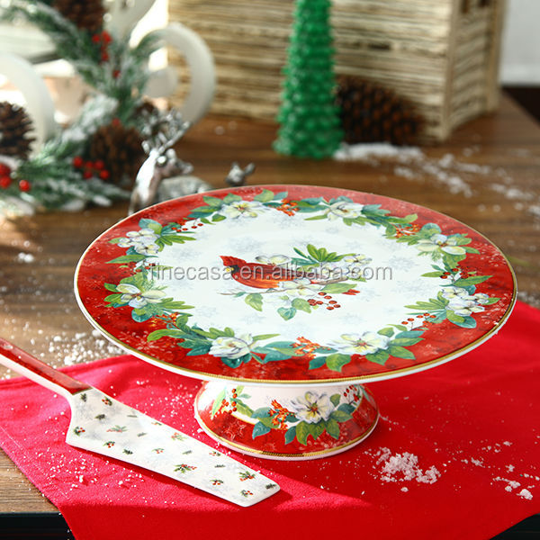 11 Inches Christmas Fine New Bone China Santa Ceramic Cake Stand with Server of New Christmas