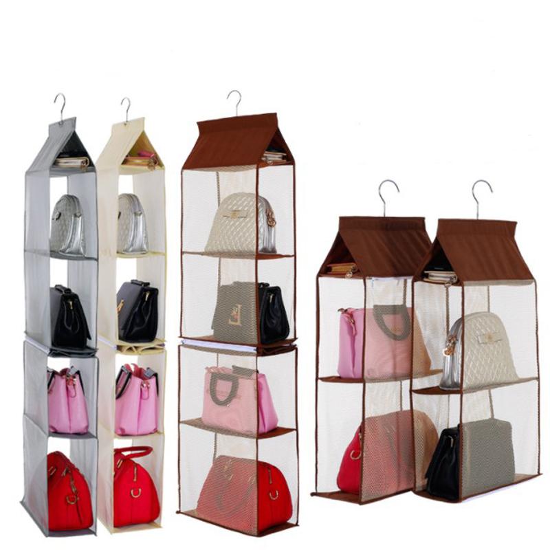 Storage Holders & Racks Foldable Hanging Bag 6 Pocket Folding Shelf Bag Purse Handbag Organizer Door Sundry Pocket Hanger Storage Closet Hanger Good Reputation Over The World Home Storage & Organization