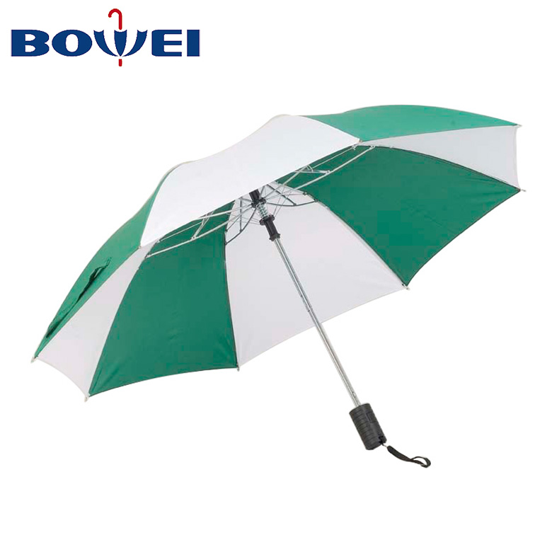 Chinese manufacturer wholesale price stitching color customized logo automatic open 3 folding rain umbrella with plastic handle