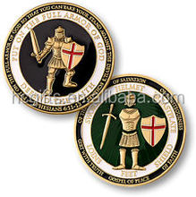 FREE artwork design high quality metal based enamel Defend the Faith Brass Challenge Coin