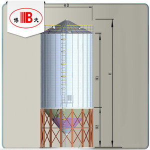 14-1000t assembly / bolted / corrugated hopper / cone bottom wheat steel silos for wheat flour mill