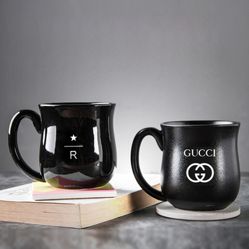 Chinese factory custom Laser engraving ceramic water/coffee/tea/beer cup black porcelain drinking mugs