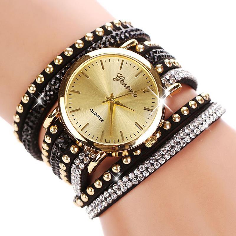 77 Fashion 15 Colors Summer Style Luxury Casual Geneva Wristwatch Watch Women Gold Bracelet Dress Watch