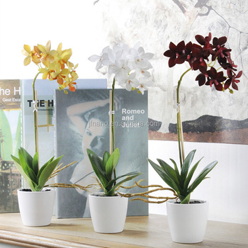 Attractive Home Decoration Vivid Silk Flowers Artificial Potted Orchids