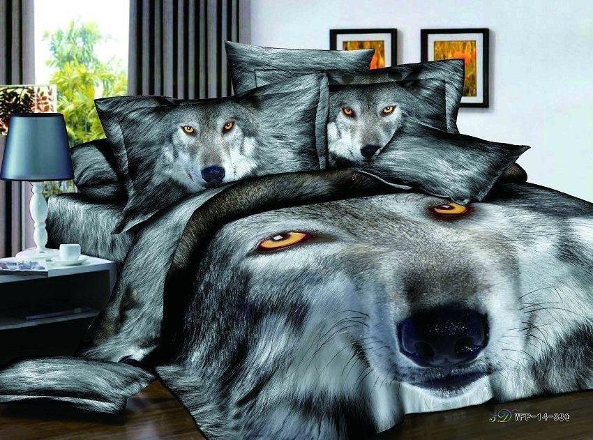3d Black And White Wolf Animal Print Bedding Comforter Set