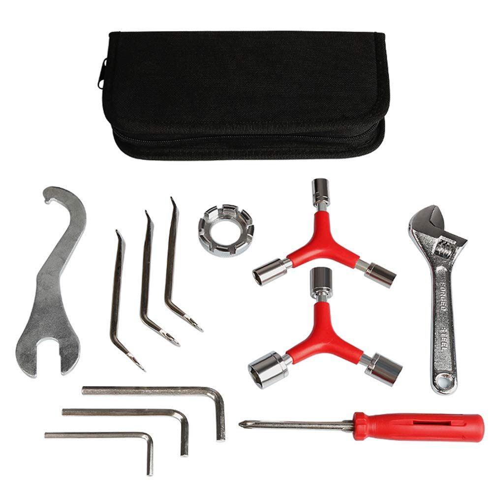 Ajmio Bicycle Repair Tool Kits 12 in 1 Multifunction Bicycle Mechanic Fix Tools Set Cycling Function Tool with Bag