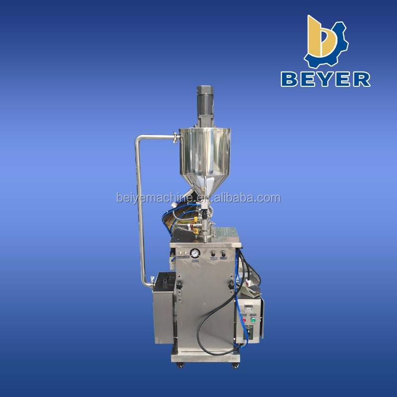 Semi auto hot filling machine with heater and hopper