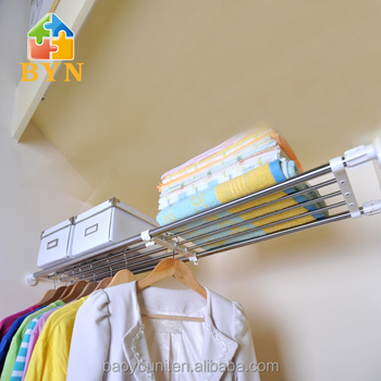 Baoyouni Adjustable Closet Rod U0026 Shelf For Mounting To Two Sidewalls  DQ 0827 SZ