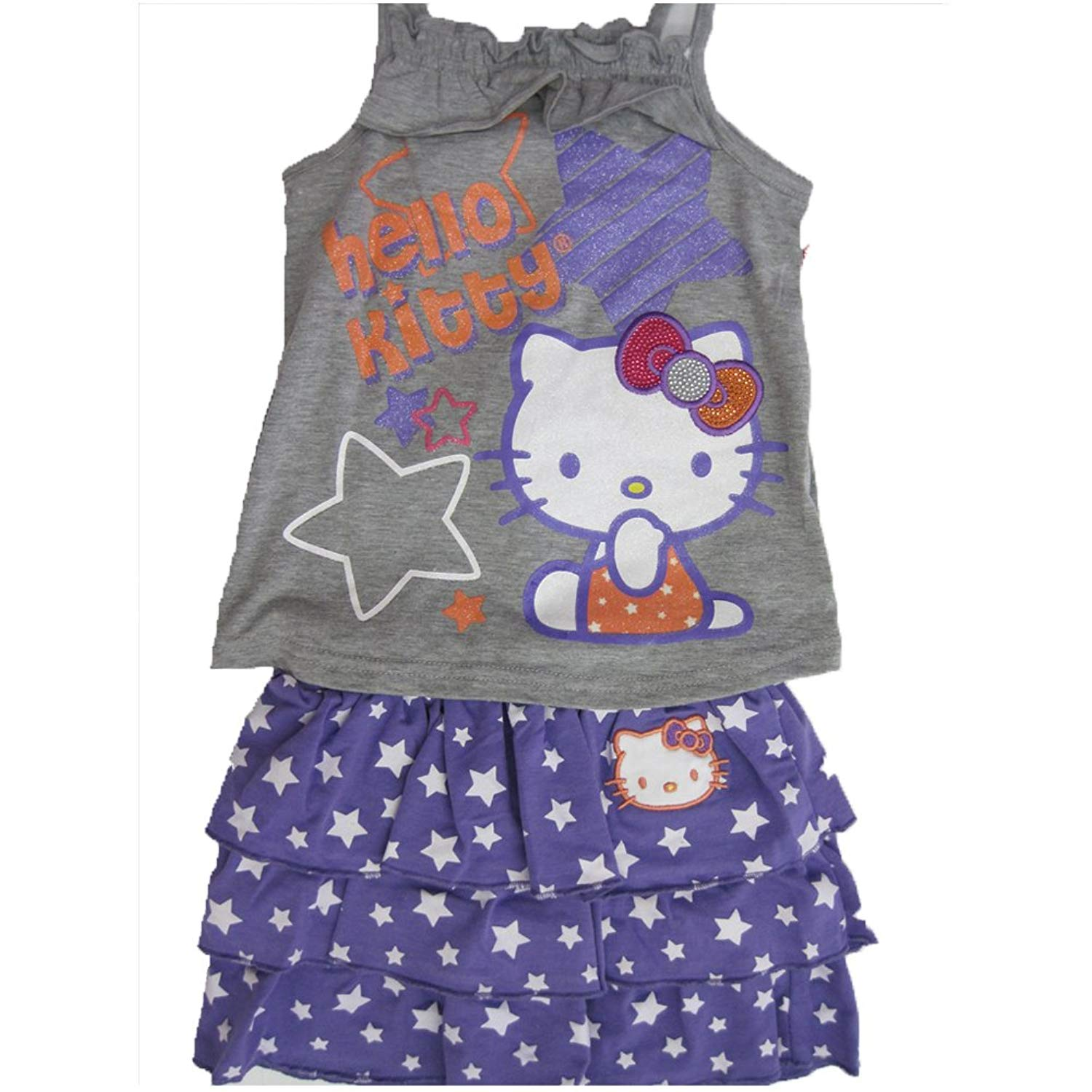 de5b24bc3 Get Quotations · Hello Kitty Gray Purple Star Patterned Tiered 2 Pc Skirt  Outfit 4-6X