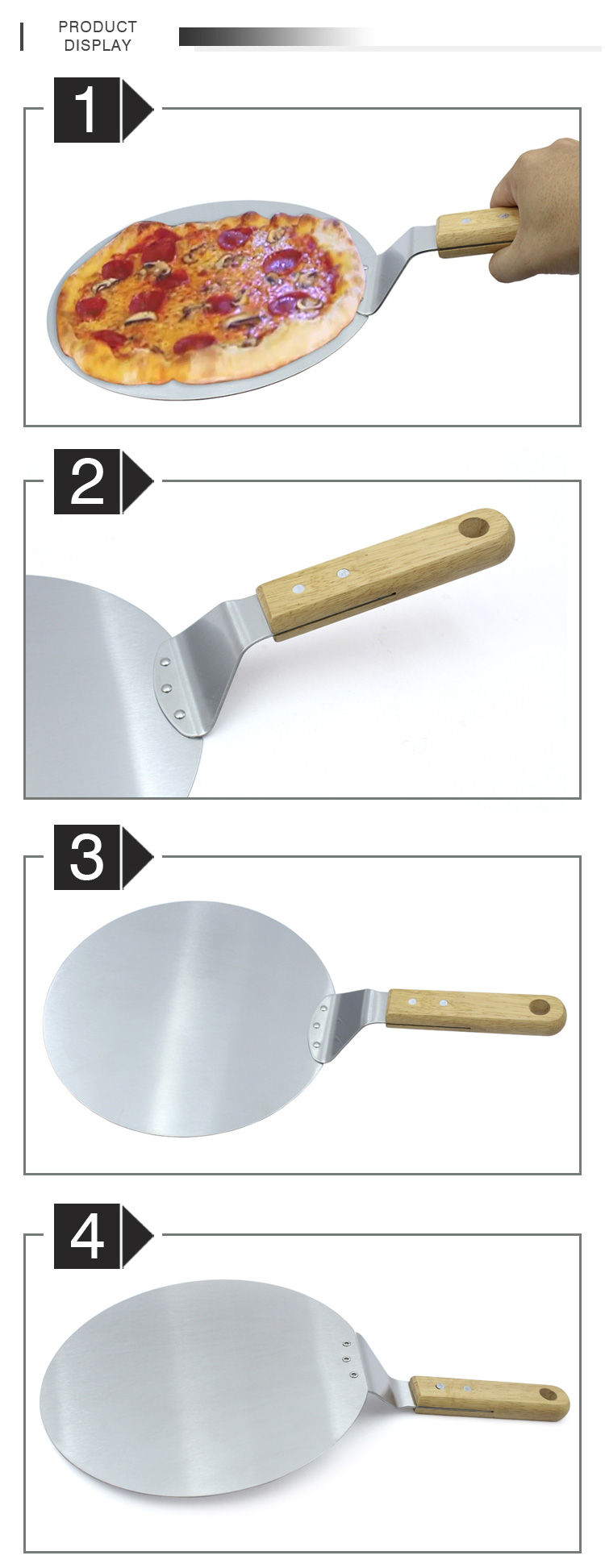 10 zoll holz griff edelstahl pizza schaufel pizza peel pizza turner
