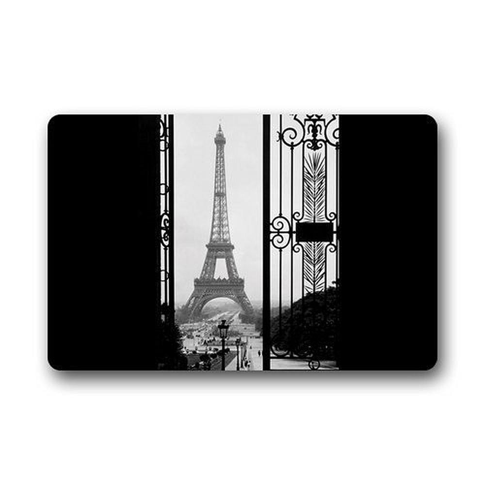 DENSY Door Mats Door Mats Custom Eiffel Tower Paris Home Doormats Top Fabric&Rubber Bathroom Welcome Door Mats Rug Carpets Indoor /Outdoor 23.6 X 15.7 Inch