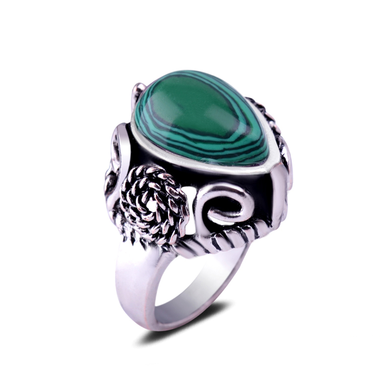 Single Heart Cutting Green Malachite Centre Stone Cameo Flower Metal Bands Circle Ring Large Gemstone Ring For Unisex