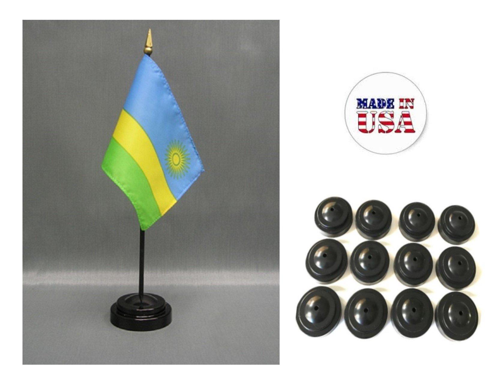 "Made in the USA!! Box of 12 Rwanda 4""x6"" Miniature Desk & Table Flags Includes 12 Flag Stands & 12 Rwandan Small Mini Stick Flags"
