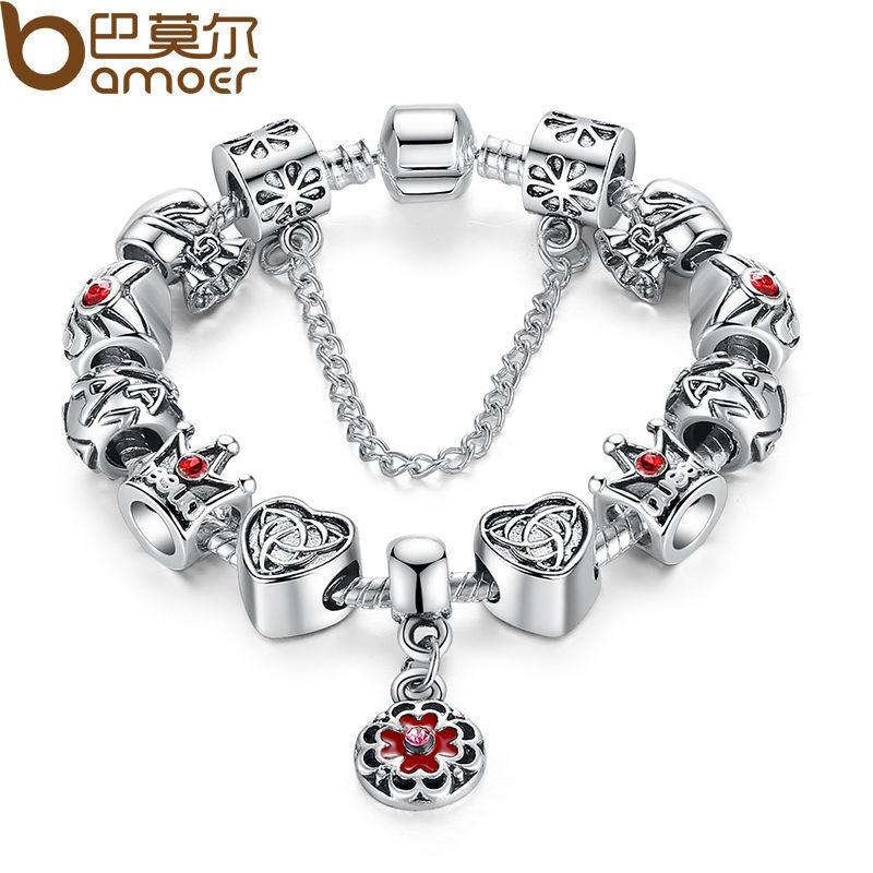 Старинные в форме сердца корона бусины браслет серебро 925 для женщин оригинальные безопасности сеть ювелирных PA1430