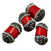 Clay Pave Beads with Natural Coral with rhinestone & mixed red 11-13x18-20x11-14mm Hole:Approx 1mm 1192009