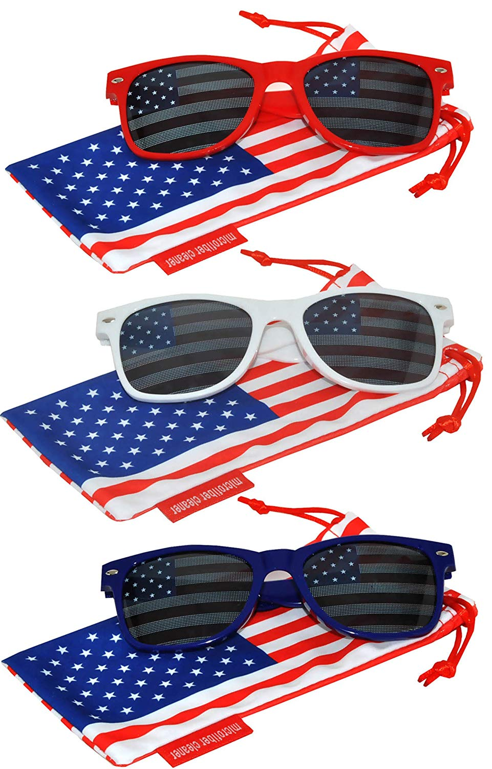 d99c65e8d6 Get Quotations · Set of 3 Pairs Classic American Patriot Flag Sunglasses  USA Colored Mirror Smoke Lens
