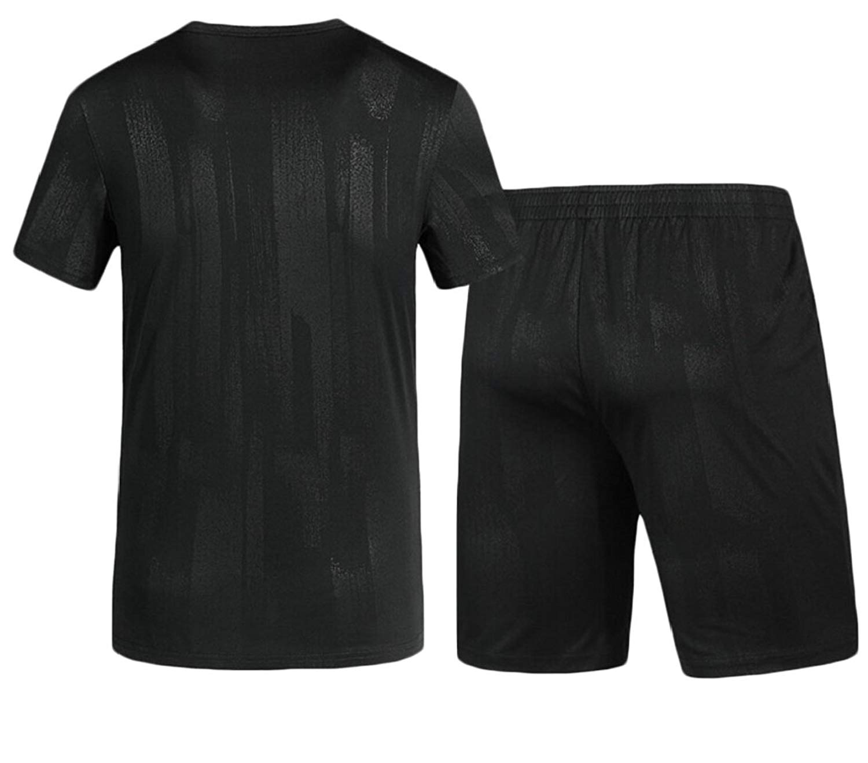Fensajomon Mens 2 Pieces Workout Letters Print T-Shirts and Shorts Tracksuit Set