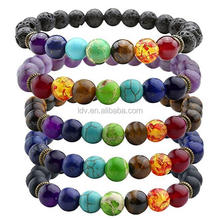 8 mm available Free collocation of wooden glass agate genuine stone beaded bracelet 7 colour chakra for business gift bracelet