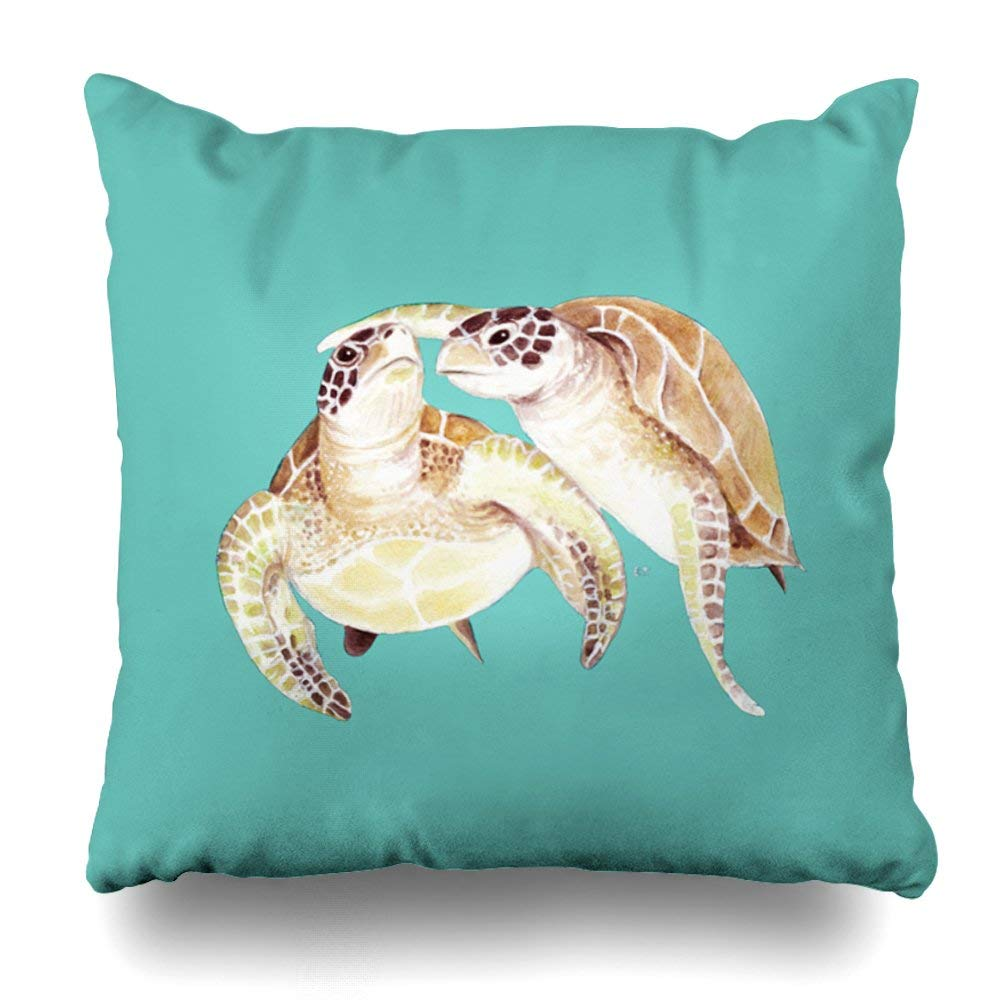 "Decorative Pillow Cover 20""X20"" Two Sides Printed Sea Turtles Love Round Pillow Throw Pillow Cases Decorative Home Decor Indoor/Outdoor Nice Gift Kitchen Garden Sofa Bedroom Car Living Room"