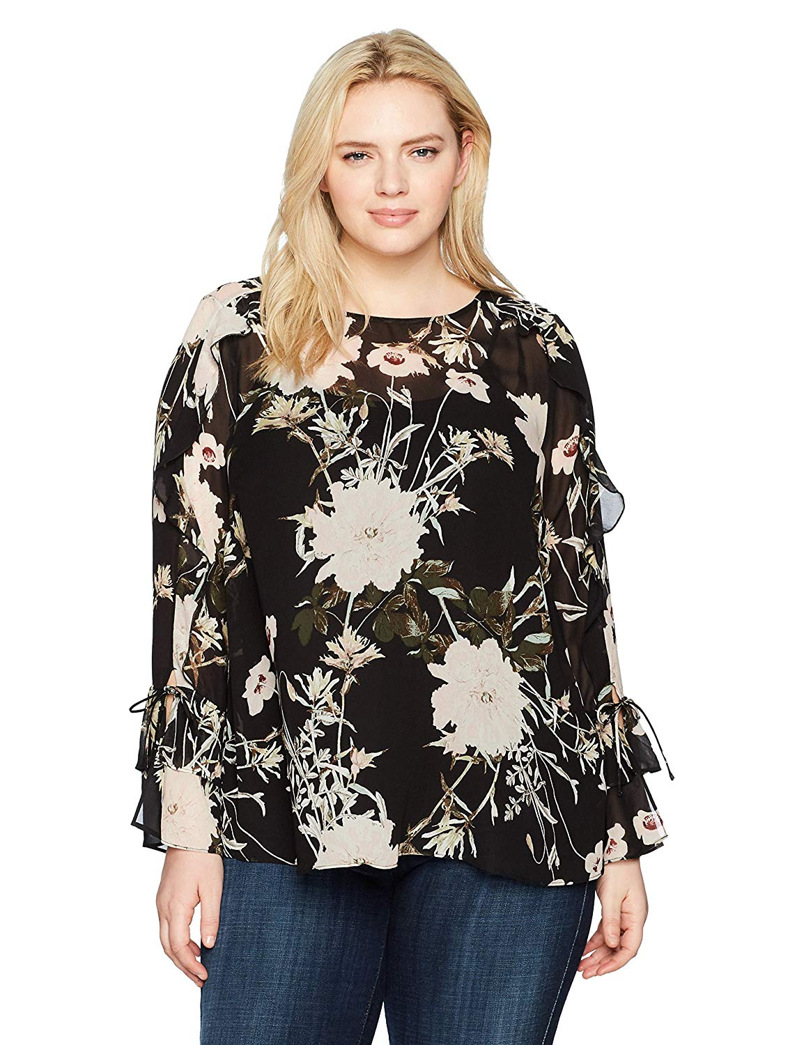 f933b2fe9 Get Quotations · Lucky Brand Women's Plus Size Scoop Back Ruffle Top