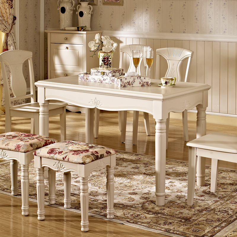 Small Wood Dining Tables: Modern Minimalist Ivory White Wood Rectangular Garden