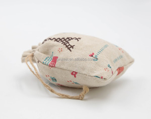 Ginzeal Small Cute Cotton Linen Standing Up Drawstring Pouch Bag