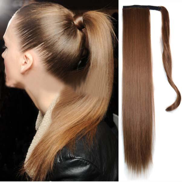 Блонд естественная женщины волосы Ponytails леди длинная прямой хвост 55 см длины 17 цветов парики