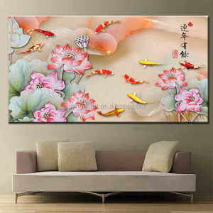 canvas printing services custom Wall Art Lotus flowers and fish designs pictures photos painting