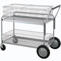 Metal wire rolling office file collect cart storage trolley
