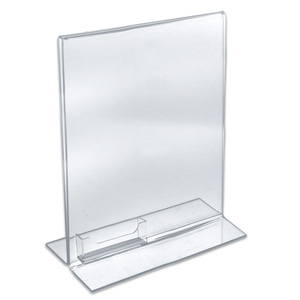 Custom Double Sided Upright Clear Acrylic Poster Holder Plexiglass literature Display Stand