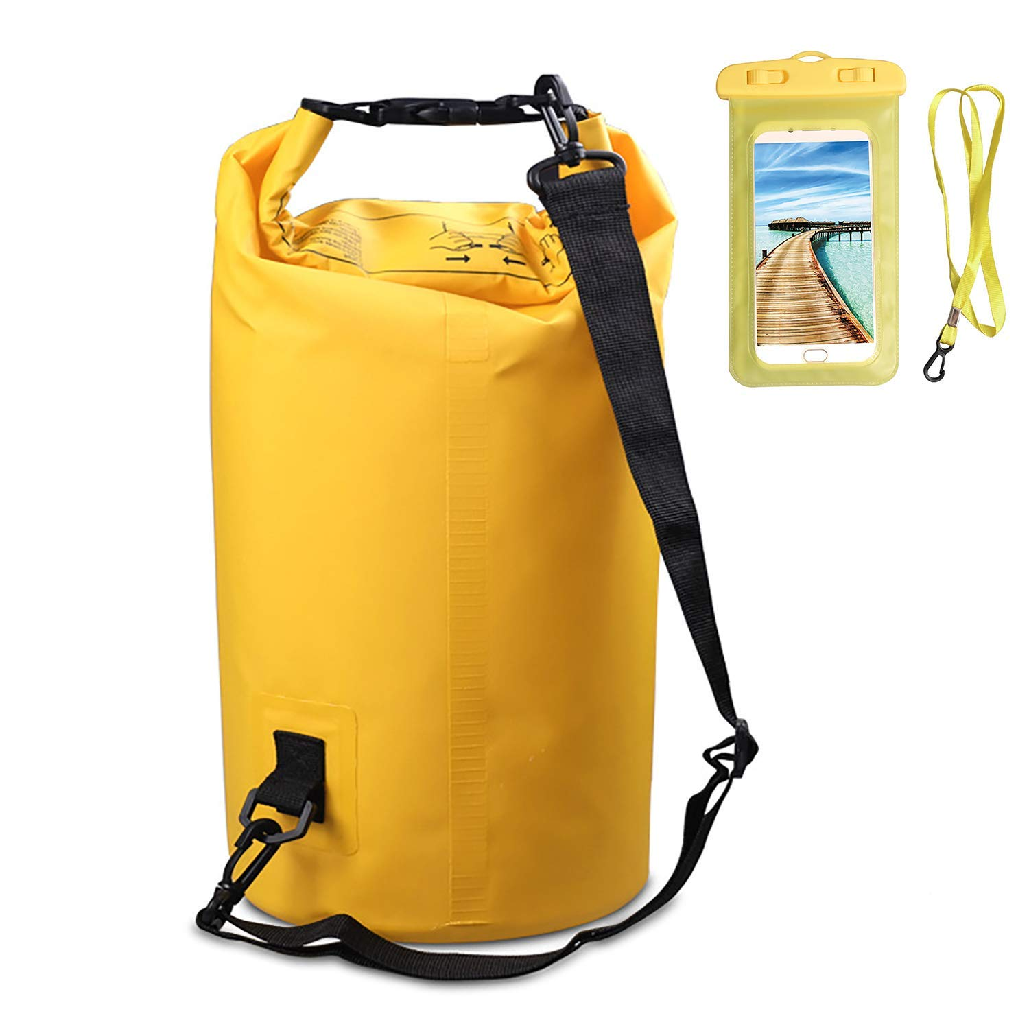 Get Quotations · June Sports Waterproof Dry Bag Swim Bag with Waterproof  Phone Case- Roll Top Dry Compression 1276e0924ea16