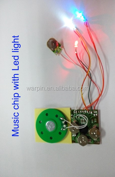 Flashing led light sound module 40mm speaker circurt board music module