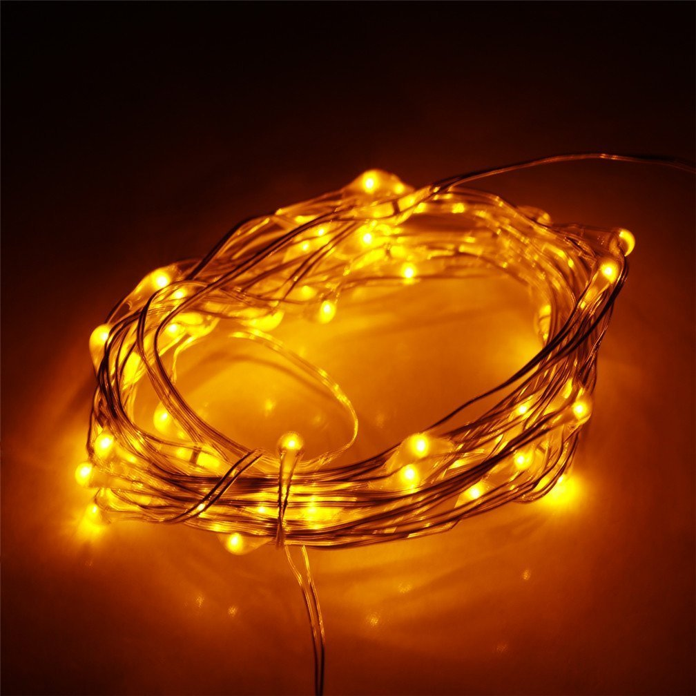 E-Age Indoor and Outdoor Waterproof Battery Operated String Lights 60LED on 20 Ft Long Silver Color Ultra Thin Copper String Wire with Timer (Yellow)