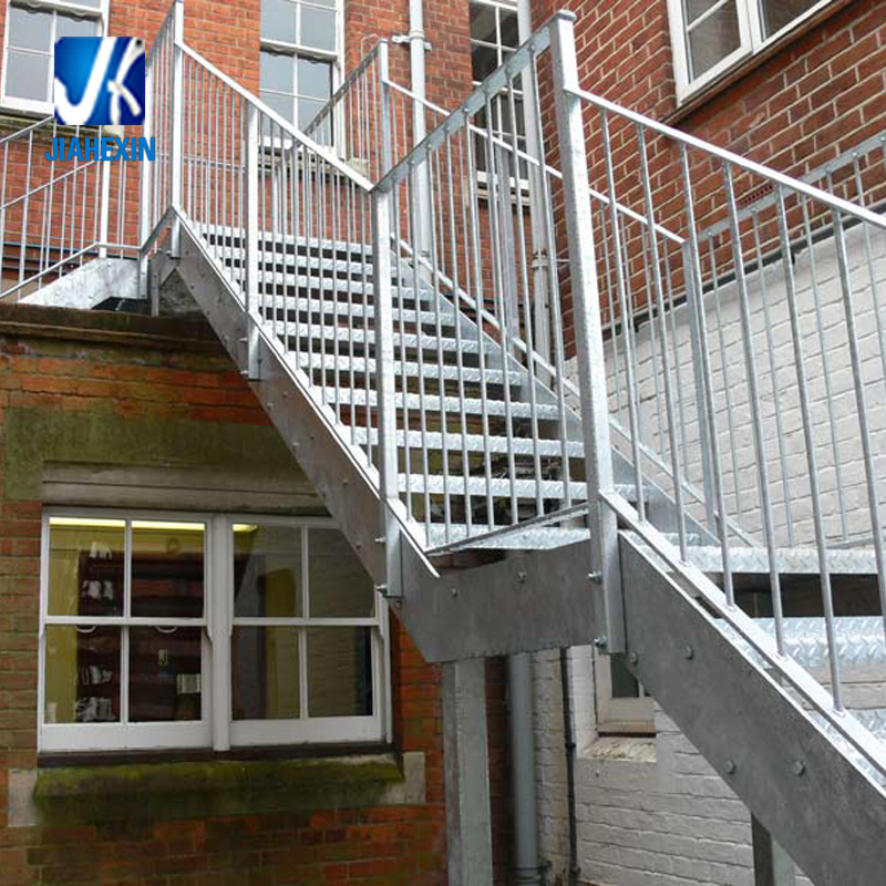 Galvanized Steel Fire Escape Stairs With Open Grille Treads   Buy  Galvanized Steel Fire Escape Stairs,Fire Escape Stairs,Outdoor Steel Stairs  Product ...
