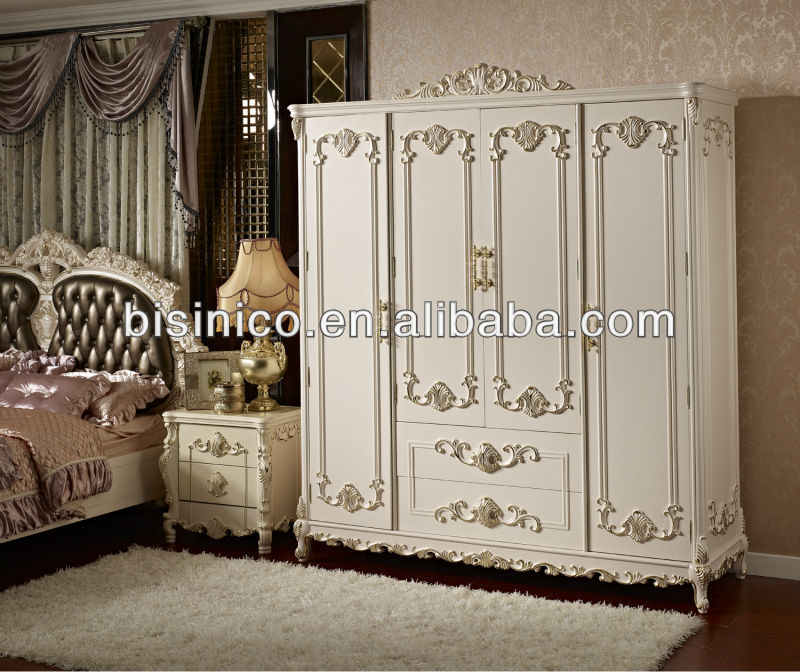 أثاث غرف النوم الطراز الفرنسي الأنيق 4 أبواب خزانة الملابس، خزانة