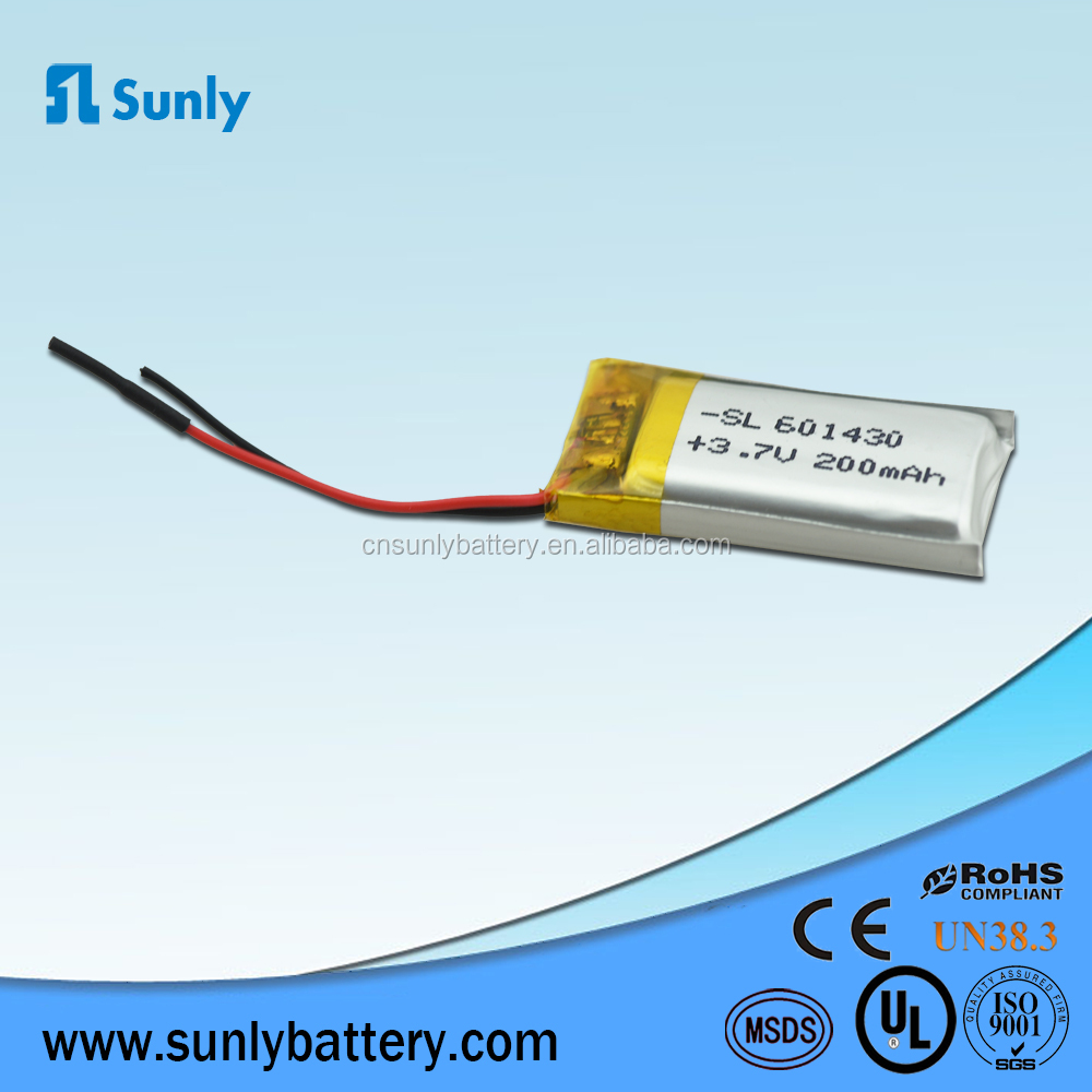 601430 lithium polymer battery 3.7v 200mah lipo battery cell for smart wearable device,mp3,mp4