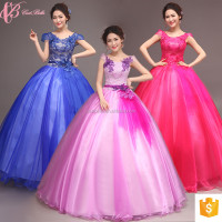 Full-length ball gown lace appliqued quinceanera dress purple blue red pink ball gown prom gown