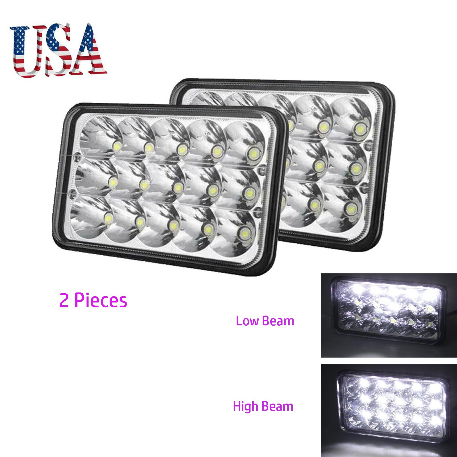 2 PCS 4x6 inch Square LED Headlights 6000K Super White Sealed Beam Rectangular Headlamps High Low Beam DRL For H4651 H4652 H4656 H4666 H6545